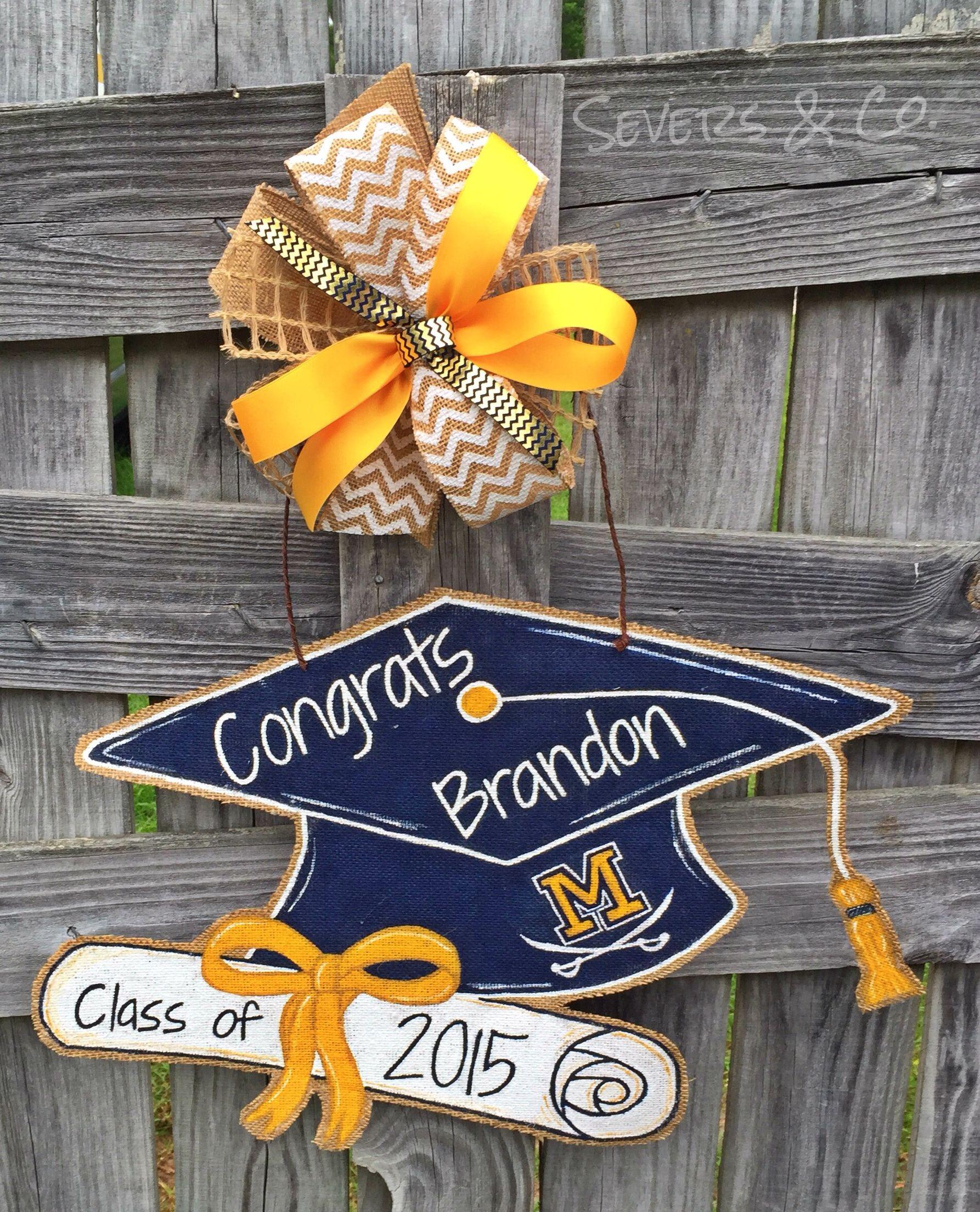 Graduation Cap Painted Wood Door Hanger With Custom Colors Etsy In 2021 Graduation Party Decor Personalized Graduation Gifts Wood Door Hangers