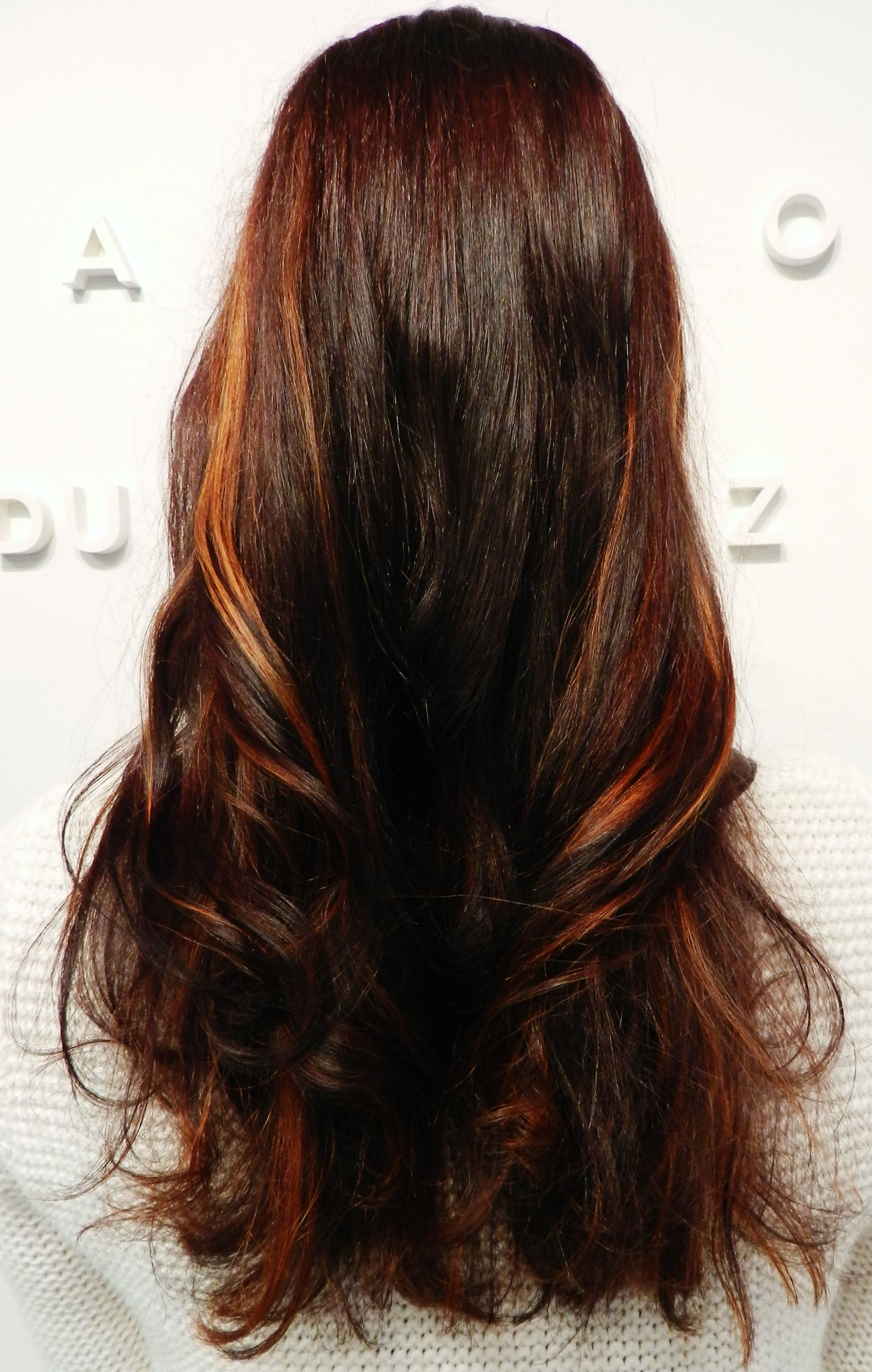 Warm Winter Chocolate Copper Red Color With Balayage Highlights