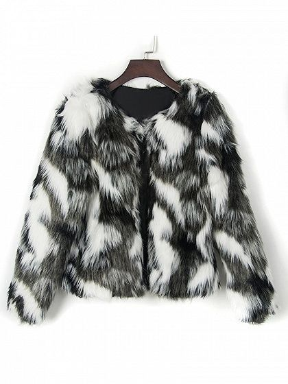 Multicolor Collarless Long Sleeve Faux Fur Coat