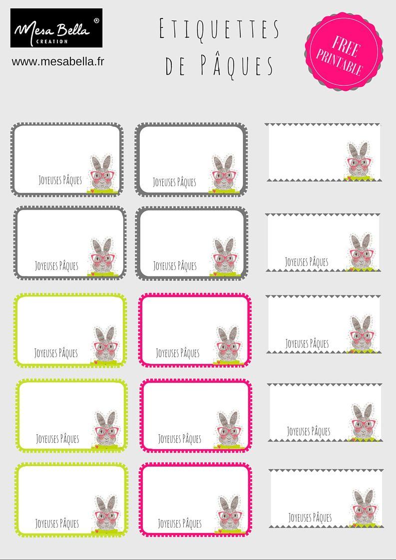 Free printable tiquettes et ronds de serviette pour p ques mesa bella blog tables de - Etiquette prenom a imprimer ...
