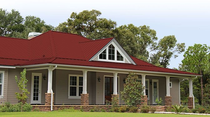 Gulf Lok Colonial Red Metal Roof Red Roof House Exterior House