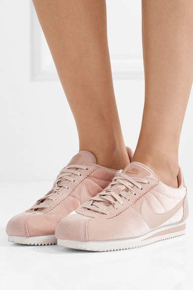meet 3f1ca 64787 Nike - Classic Cortez Suede And Leather-trimmed Velvet Sneakers - Pastel  pink