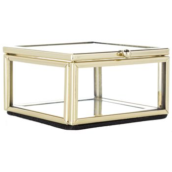 Small Gold Glass Display Box Glass Display Box Decorative