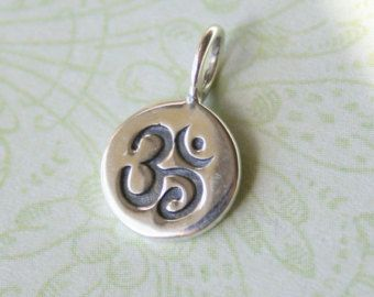 Sterling silver om circle tag yoga zen buddhist charm pendant sterling silver om circle tag yoga zen buddhist charm pendant 8x13mm mozeypictures Images