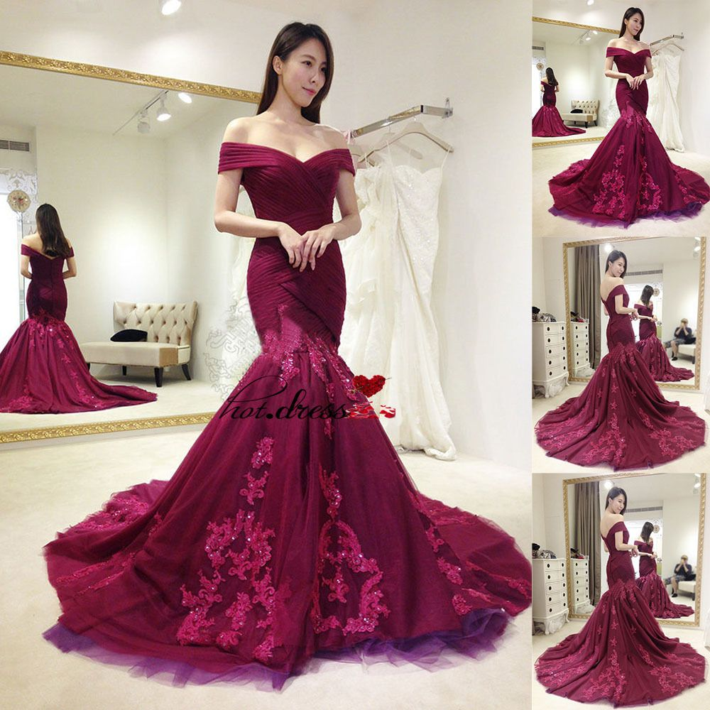 mermaid formal prom party gown wedding bridesmaid evening dress