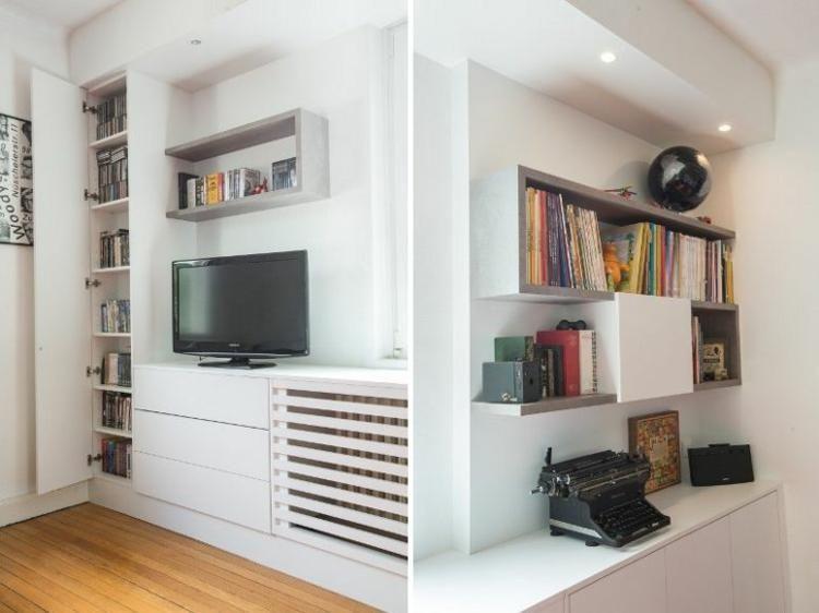 Integrierte TV-Möbel mit Bibliothek - 75 moderne Ideen | Haus