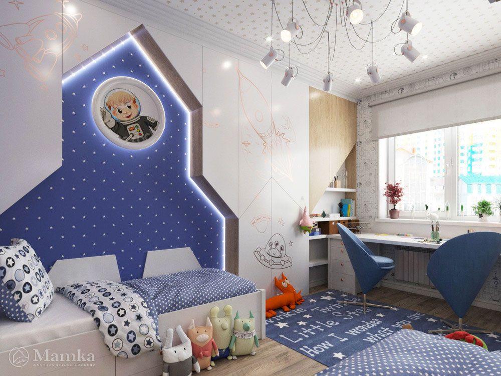 Дизайн интерьера детской для 2 мальчиков в космическом ...