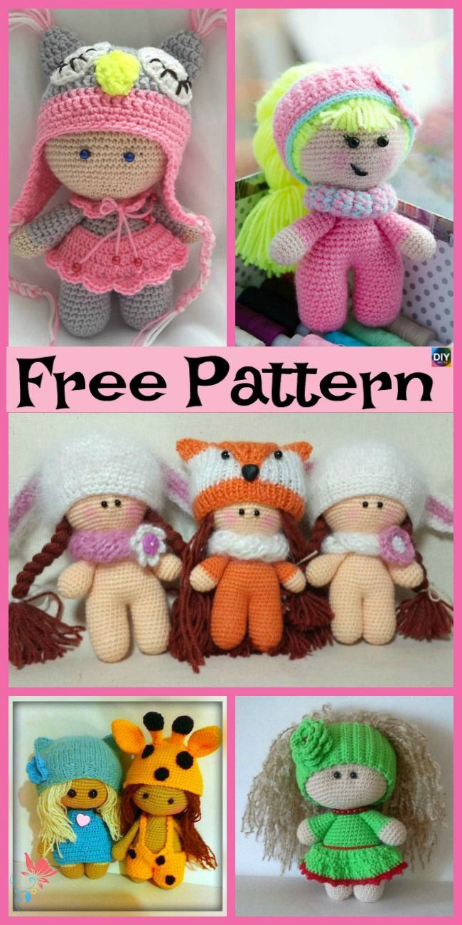 8 Cuest Crochet Doll Amigurumi Free Patterns #crochetdolls