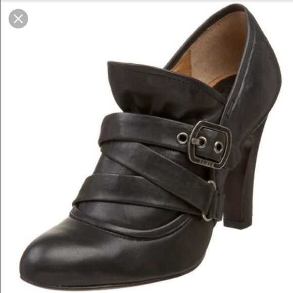 """Frye Allie softy black pumps--9 Minor tear. Leather pump booties feature a buckled strap and soft leather panel at the upper and embossed logo at the heel cap. 3.5"""" covered heel. Leather sole Frye Shoes Ankle Boots & Booties"""