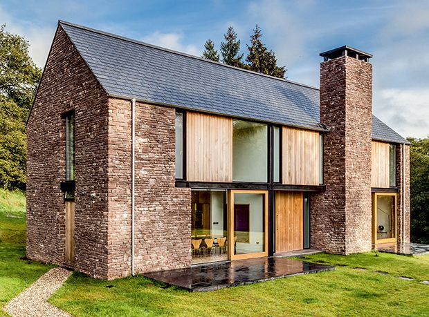 vernacular stone walls on a modern barn style home architecture 4 pinterest haus. Black Bedroom Furniture Sets. Home Design Ideas