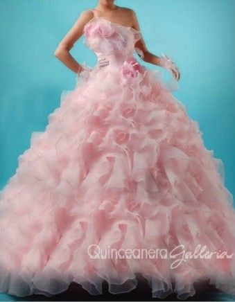 Pink Chiffon Quince Dress - Quinceanera Galleria