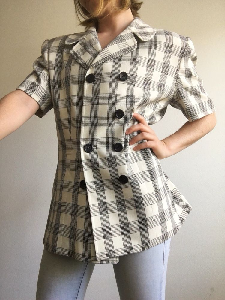 7edf75f57f12 Larry Levine Checkered Short Sleeve Blazer Size 10 #fashion #clothing  #shoes #accessories #womensclothing #suitssuitseparates (ebay link)