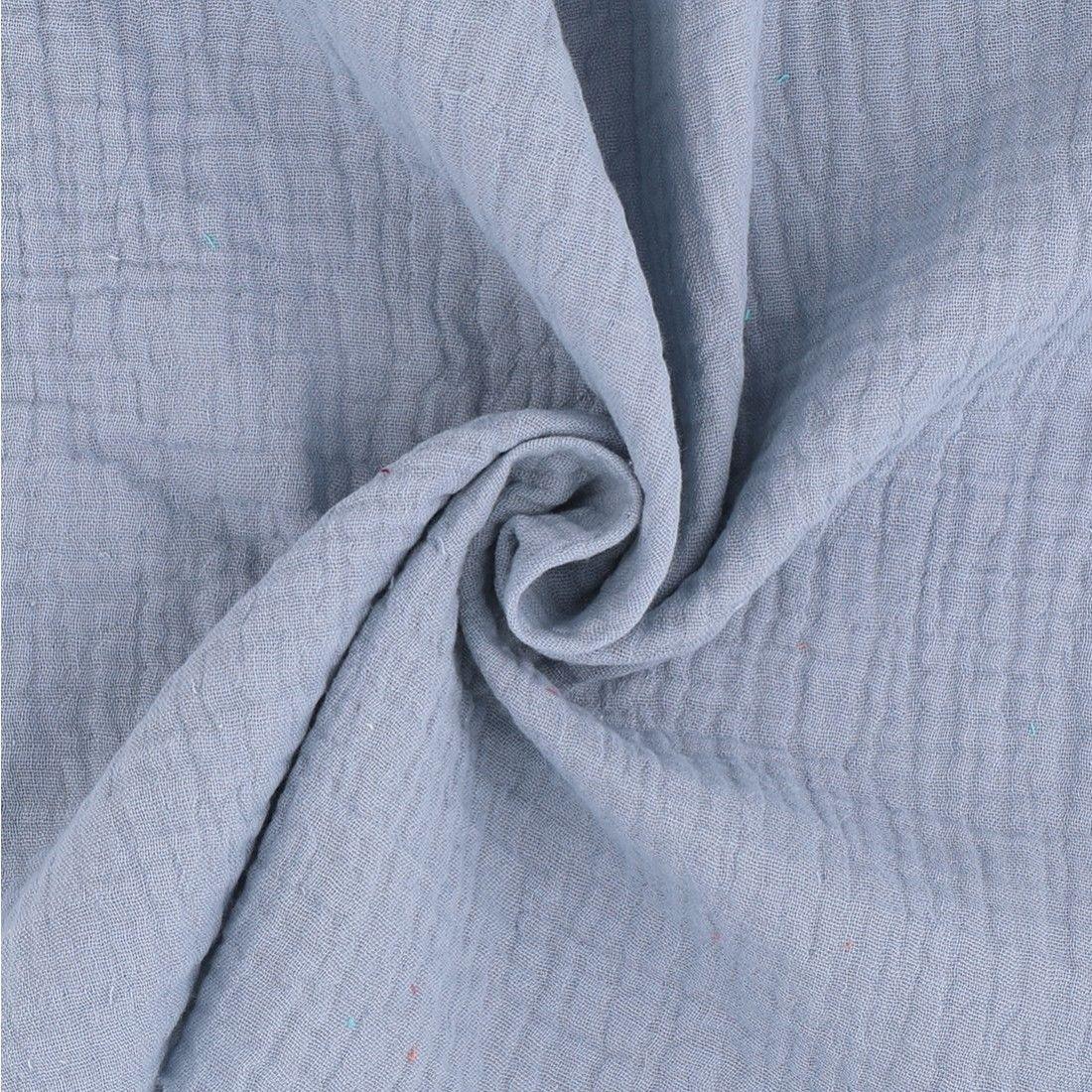 03dd6aa5e7c6b Tissu double gaze coton bleu/gris - Mondial Tissus   Couture * Idées ...