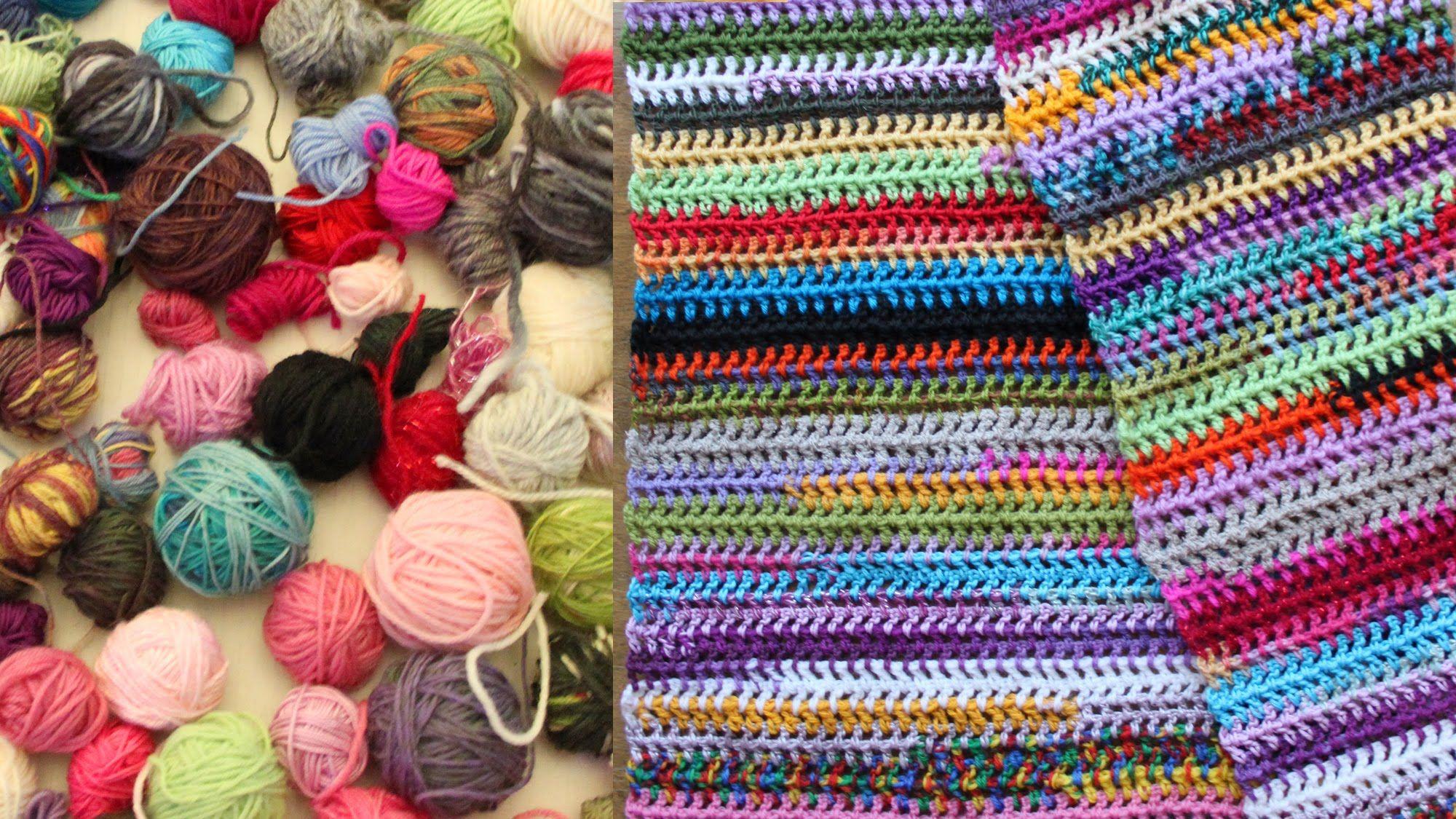 Easy scrap yarn scarf or blanket, crochet tutorial | Crochet and ...