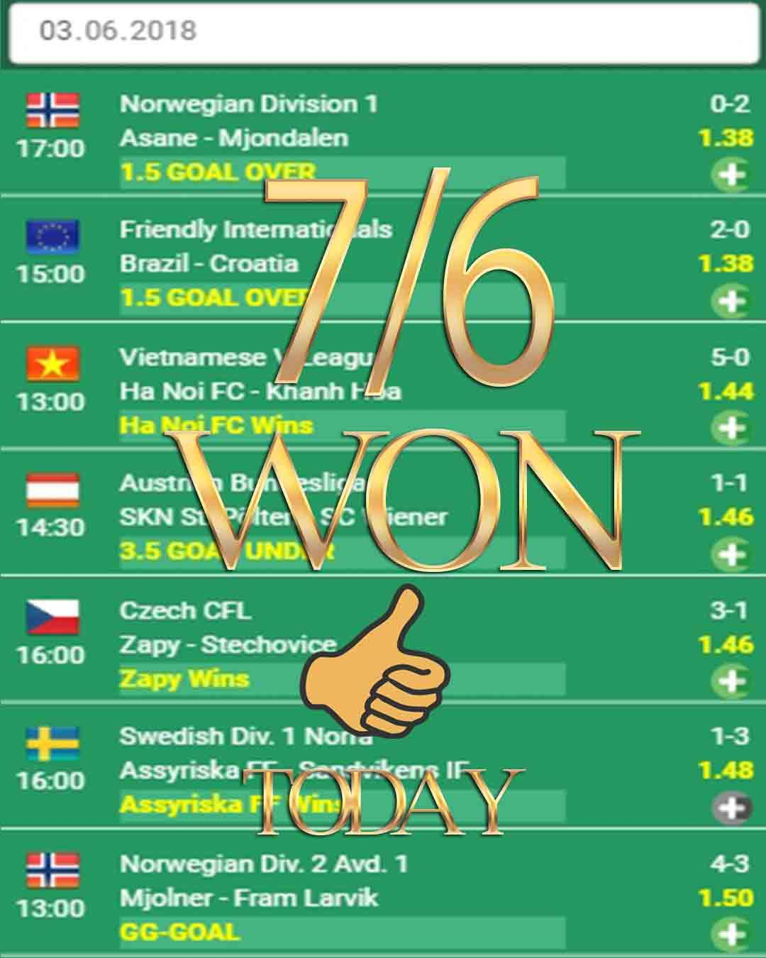 Vip betting odds 7/6 WON Football tipster, fixed match