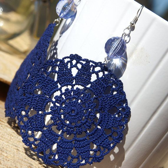 Crochet earrings in cobolt blue cotton yarn with clear blue acrylic bead.    Details:  100% extrafine cotton yarn  Acrylic bead  Width(crochet part): 7 cm  Length (from the hook): 11 cm    Every item is totally handmade.  All products are designed and handmade by me, using high quality materials. Any imperfections attest the handmade manufacturing.    All yarns are 100% made in Italy. All metal parts are nickel and lead free.    I accept payment by PayPal. Shipping by priority mail.    For…