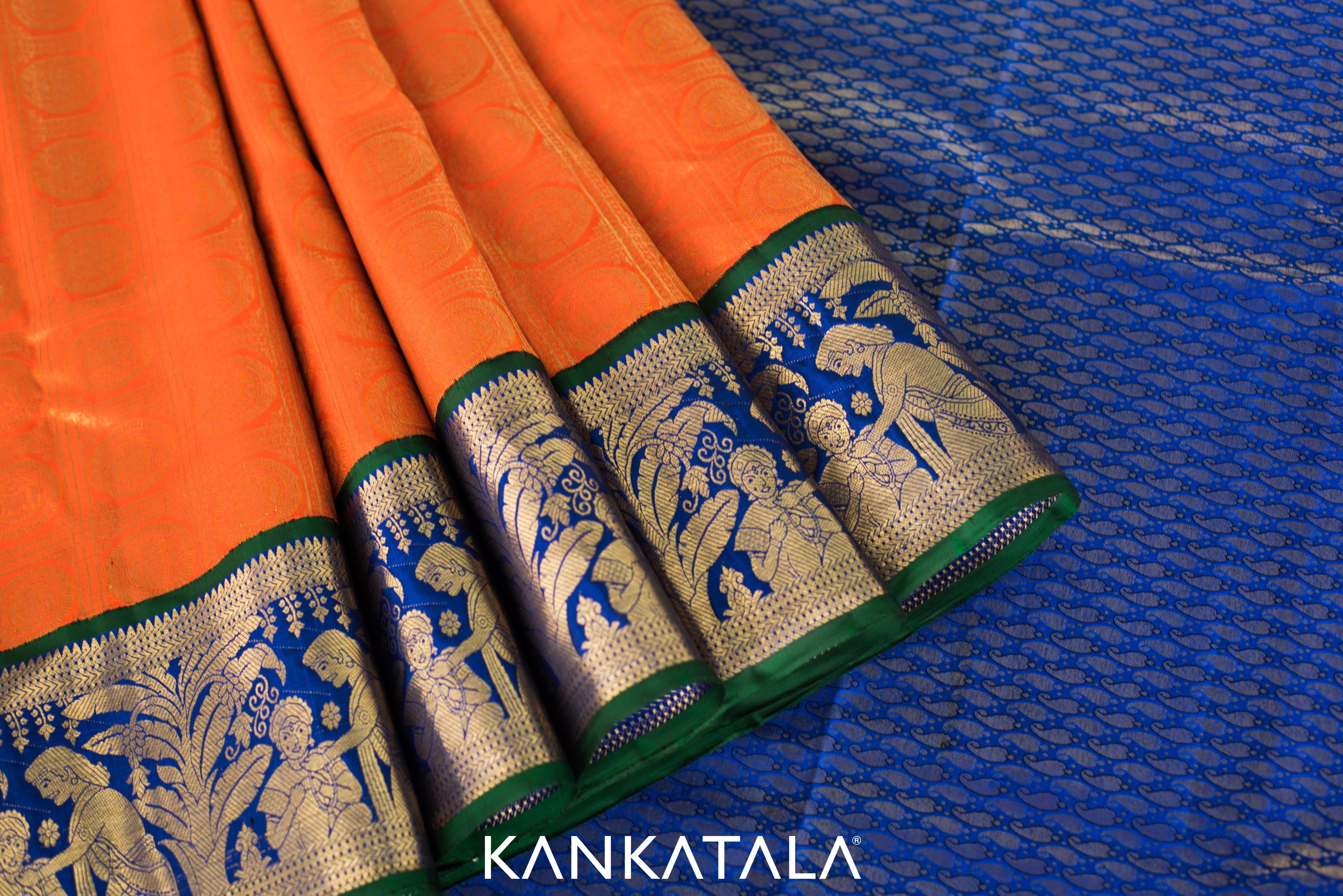 Kanchipuram Silk Saree In Outstanding Orange With Zari Checks And