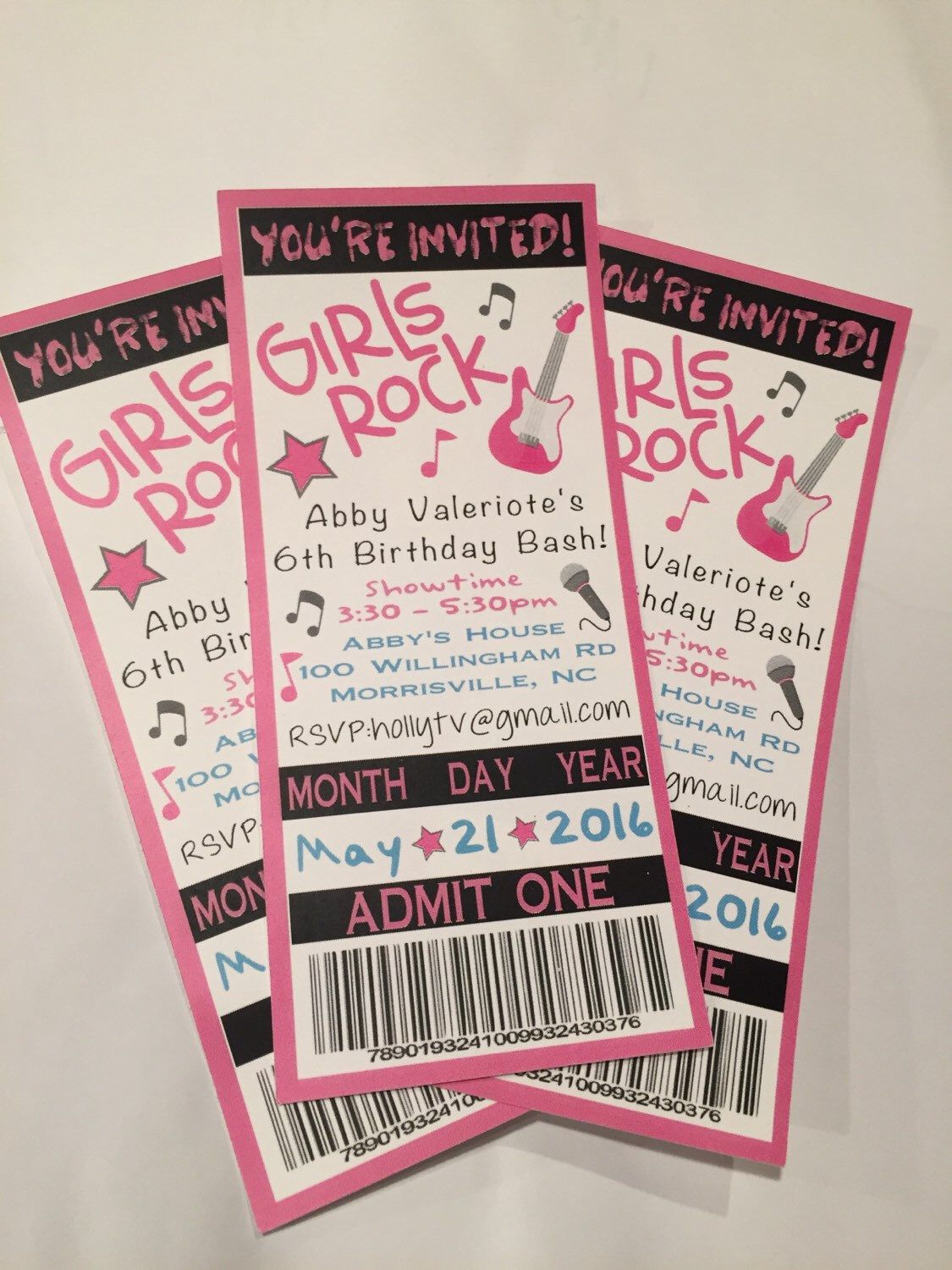 Pop Rock Star Birthday Party Ticket InvitationSet Of   Pop Rocks