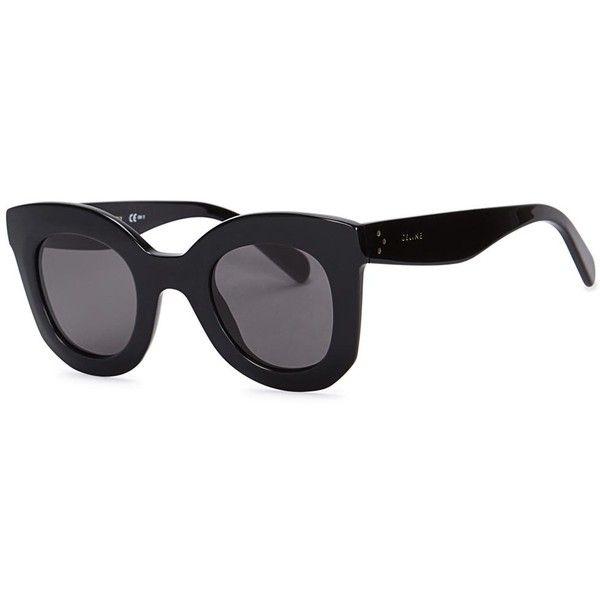 6b0b8f70630 Womens Oversized Céline Baby Marta Black Cat-eye Sunglasses (1