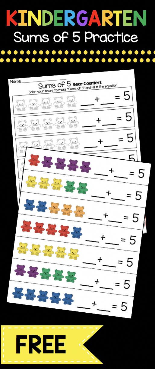 Practice Making Sums Of 5 Easy Operations And Algebraic Math Center Kindergarten Kindergarten Math Worksheets Kindergarten Math Kindergarten Math Addition