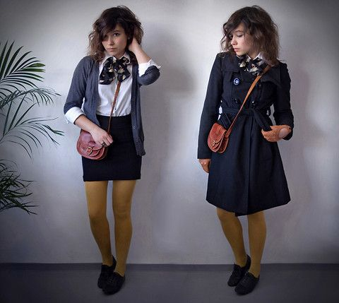 Pimkie Mustard Tights, Zara Wool Trench Coat, Handmade Leather Satchel From Fleamarket, Cut Out Leather Gloves From Vintage Shop