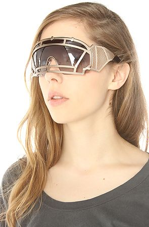 963007c14dfb The KTZ x Linda Farrow Football Helmet Sunglasses in Gold Stainless Steel   350 Featuring an angular nose bridge