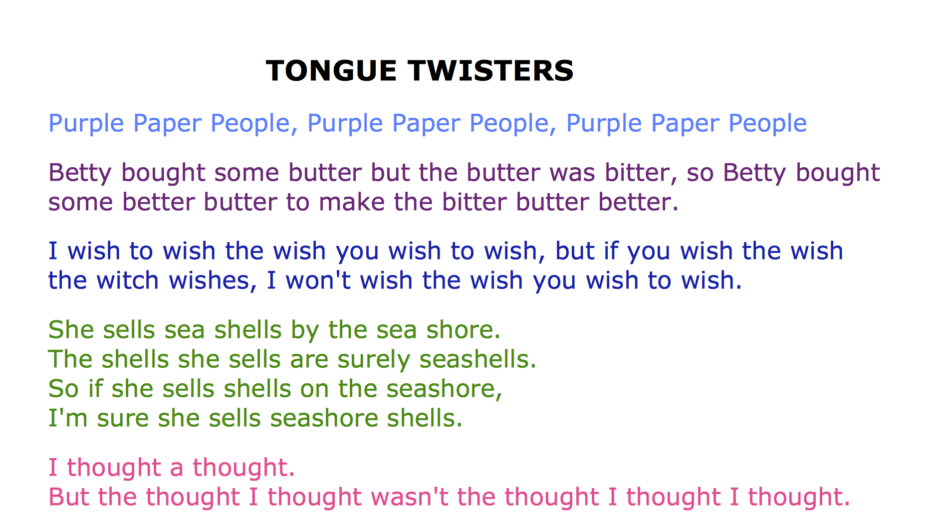 Tongue Twisters Download Worksheet