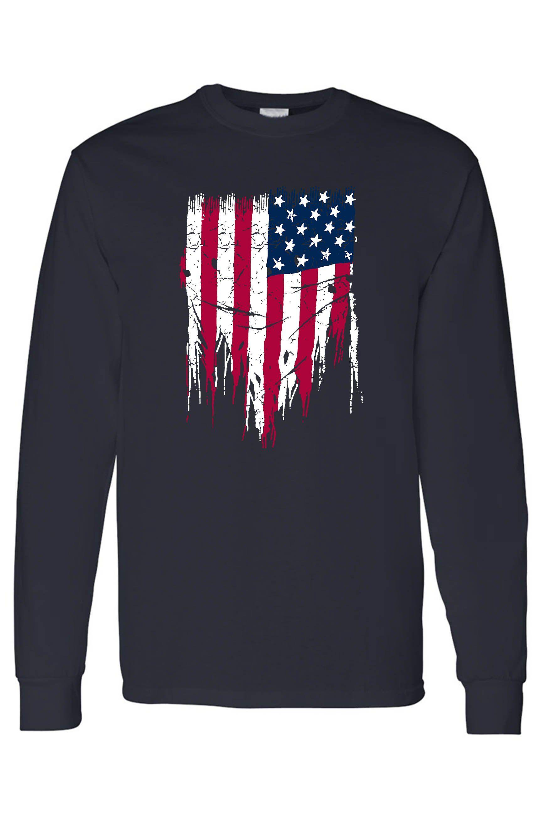 Men's/Unisex USA Flag Battle Ripped Long Sleeve T-Shirt – NAVY / Large
