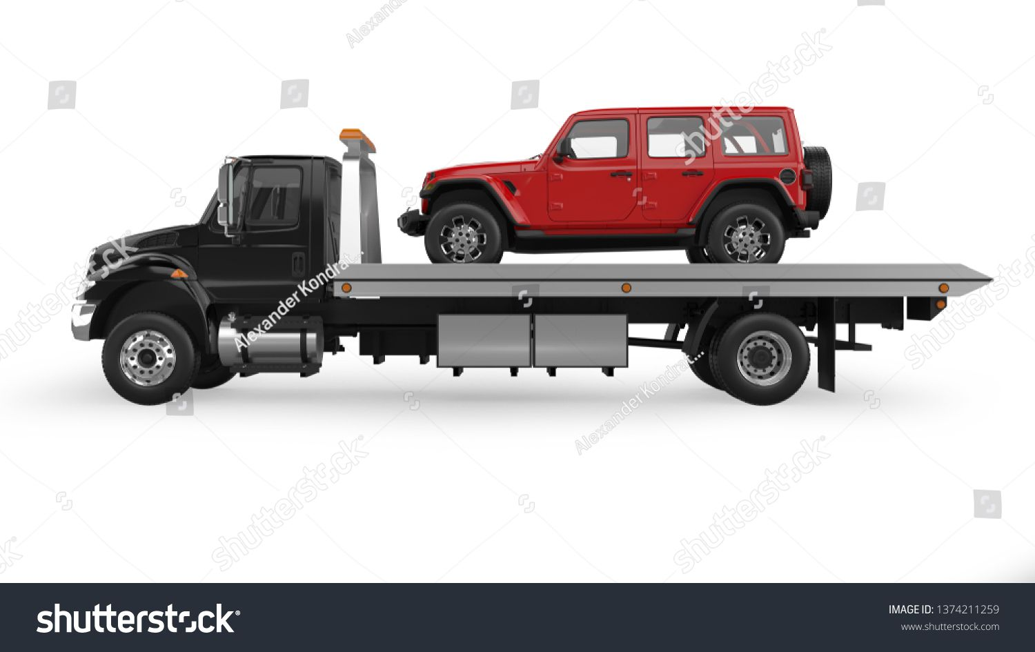 Flatbed Tow Truck 3d Rendering Isolated On White Sponsored