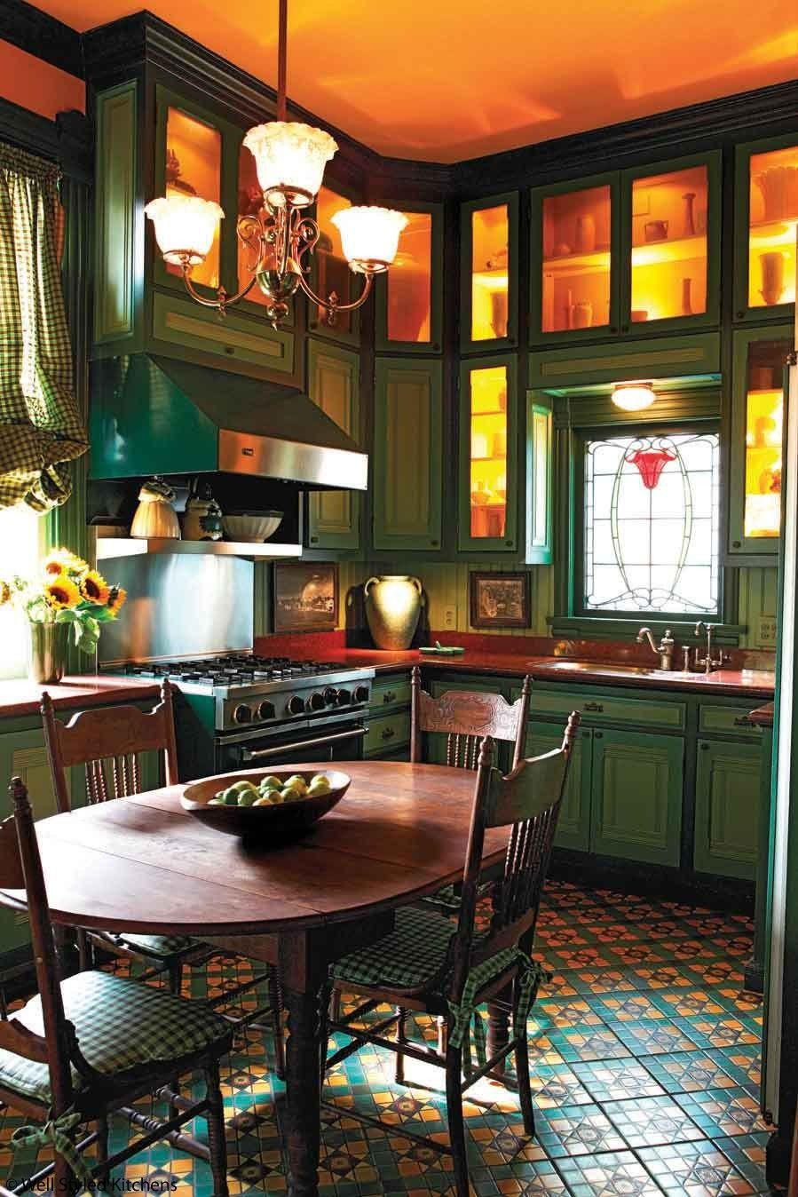 Victorian kitchen. I would paint a brighter color for the cabinets than that dark green | Kitchen interior, Victorian kitchen, Classy kitchen