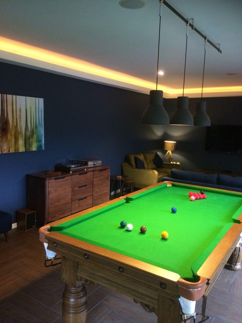 Oak Snooker Table Mid Century Modern Influenced Games Room Dark Blue Walls Pool Table Room Dark Blue Walls Game Room