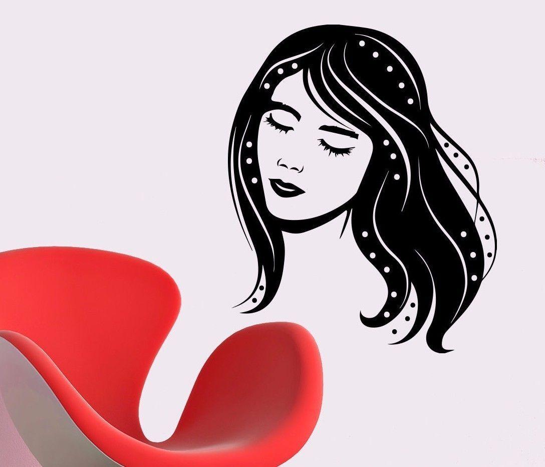 Vinyl wall decals girl decal beauty spa hair salon decor sticker