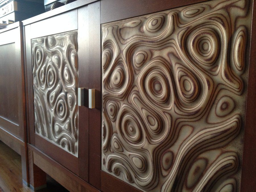 Tv cabinet doors inserts liquid plywood style by for Door design cnc