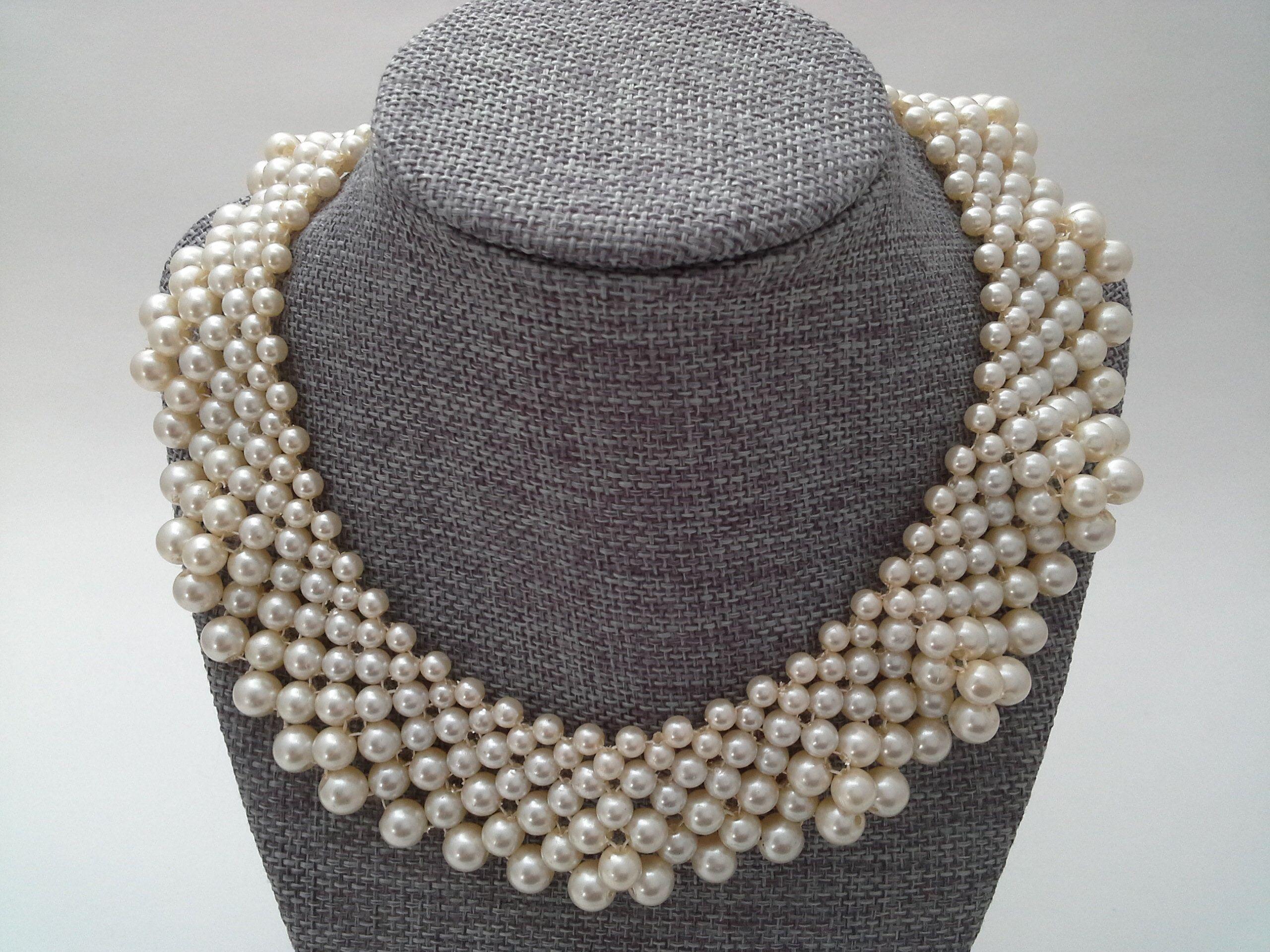 bib earrings wedding set Vintage faux pearl collar necklace