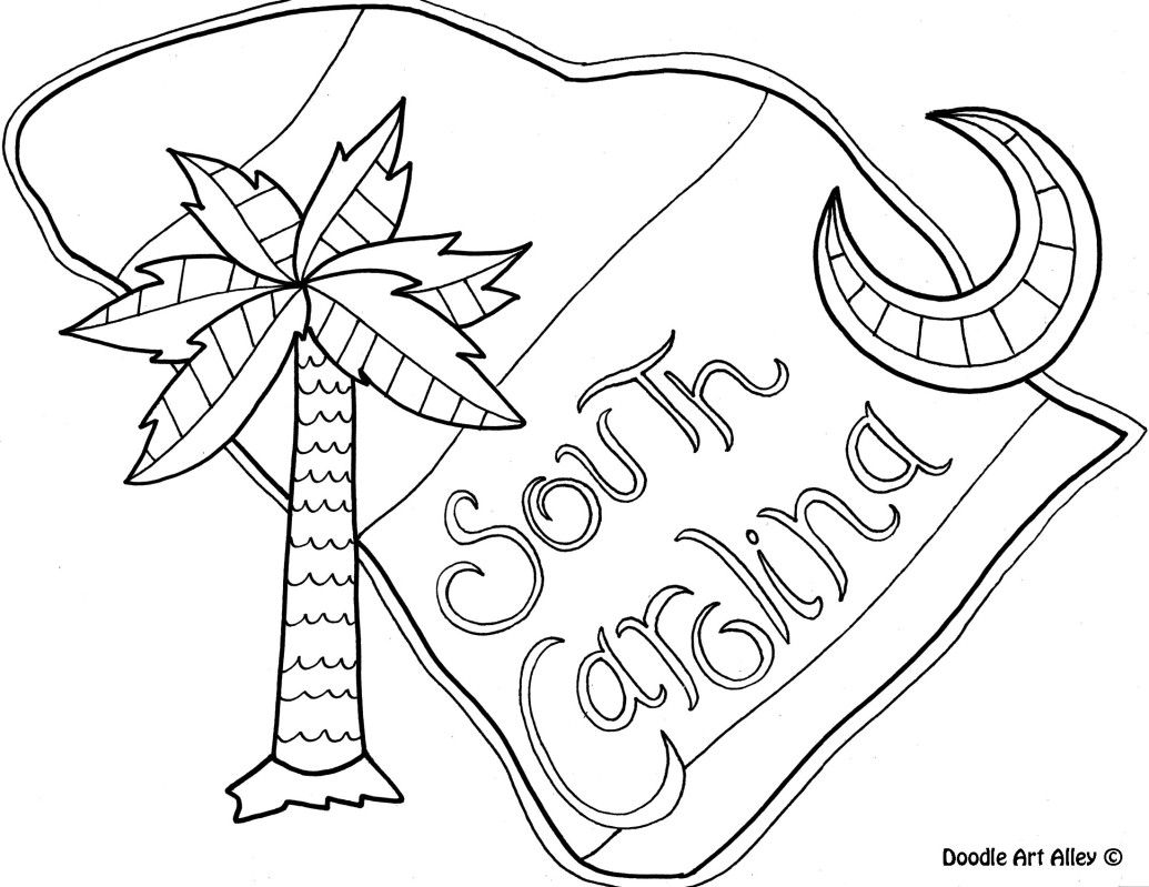 South Carolina Coloring Page By Doodle Art Alley