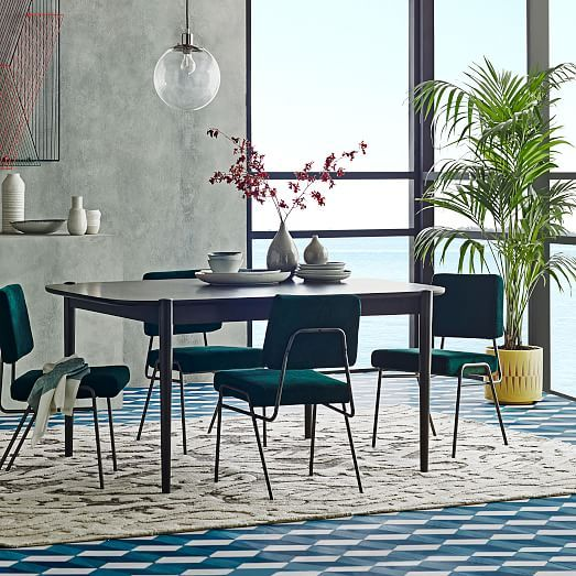Wire Frame Upholstered Dining Chair Dining Chairs Teal Dining