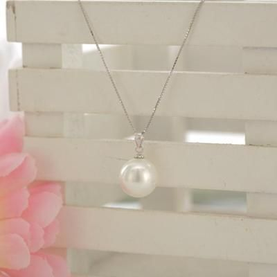 New Huge 14MM Genuine Round White Sea Shell Pearl Pendant Necklace