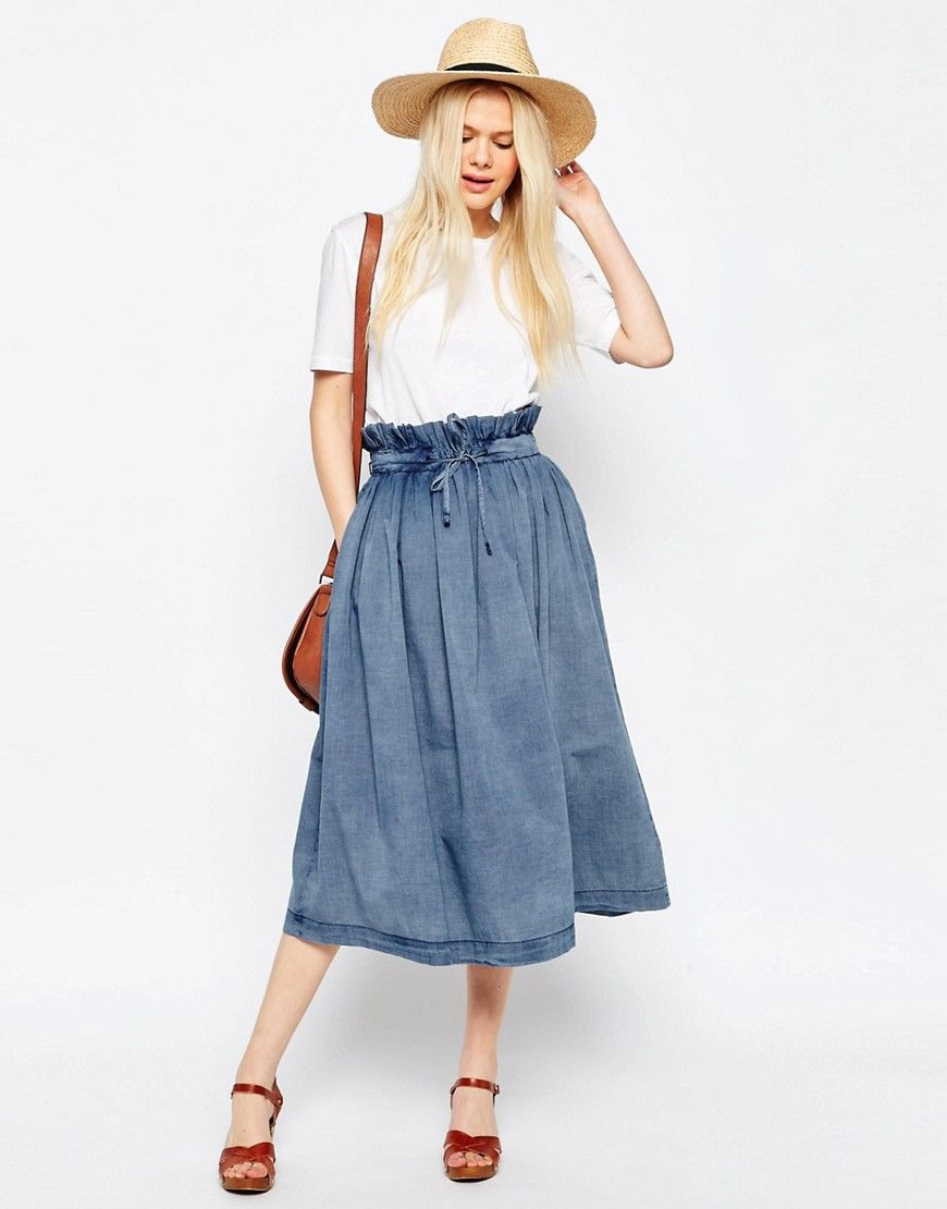 c25f8329f598f4 Image 1 of ASOS Denim Paper Bag Waist Midi Skirt
