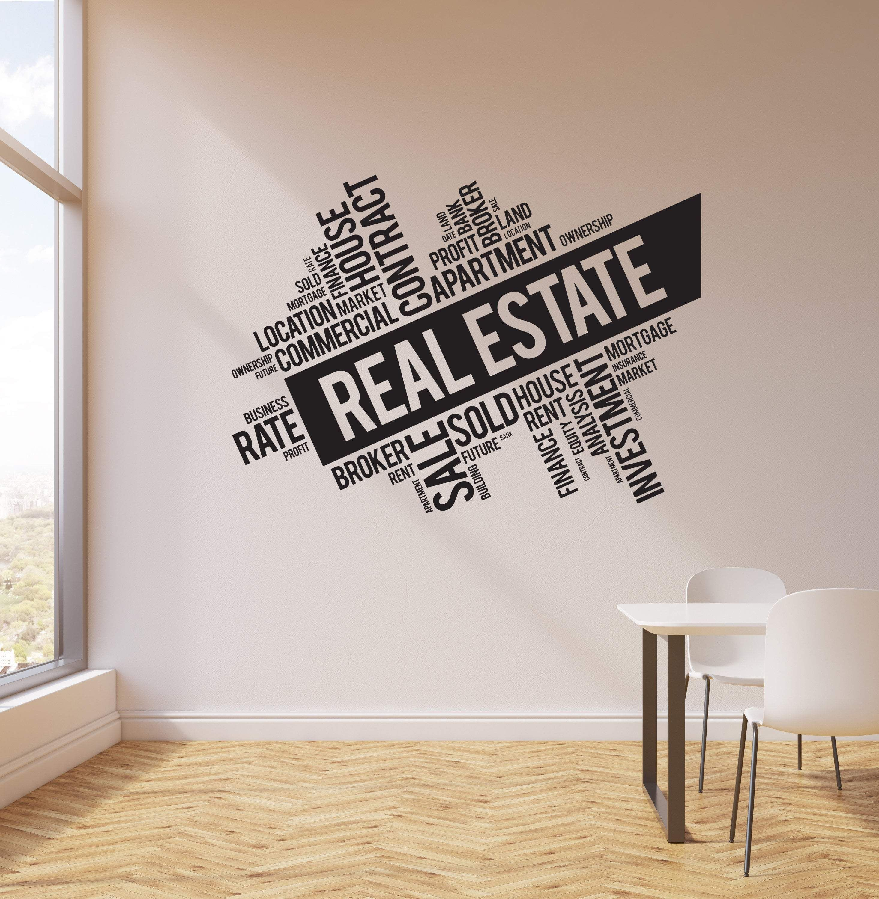 vinyl wall decal real estate broker words cloud interior on wall stickers for hall id=50675