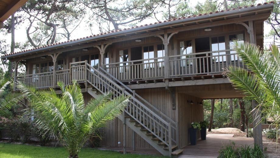Magnifique villa bois à étage sur la commune de Lège Cap-Ferret - location maison cap ferret avec piscine