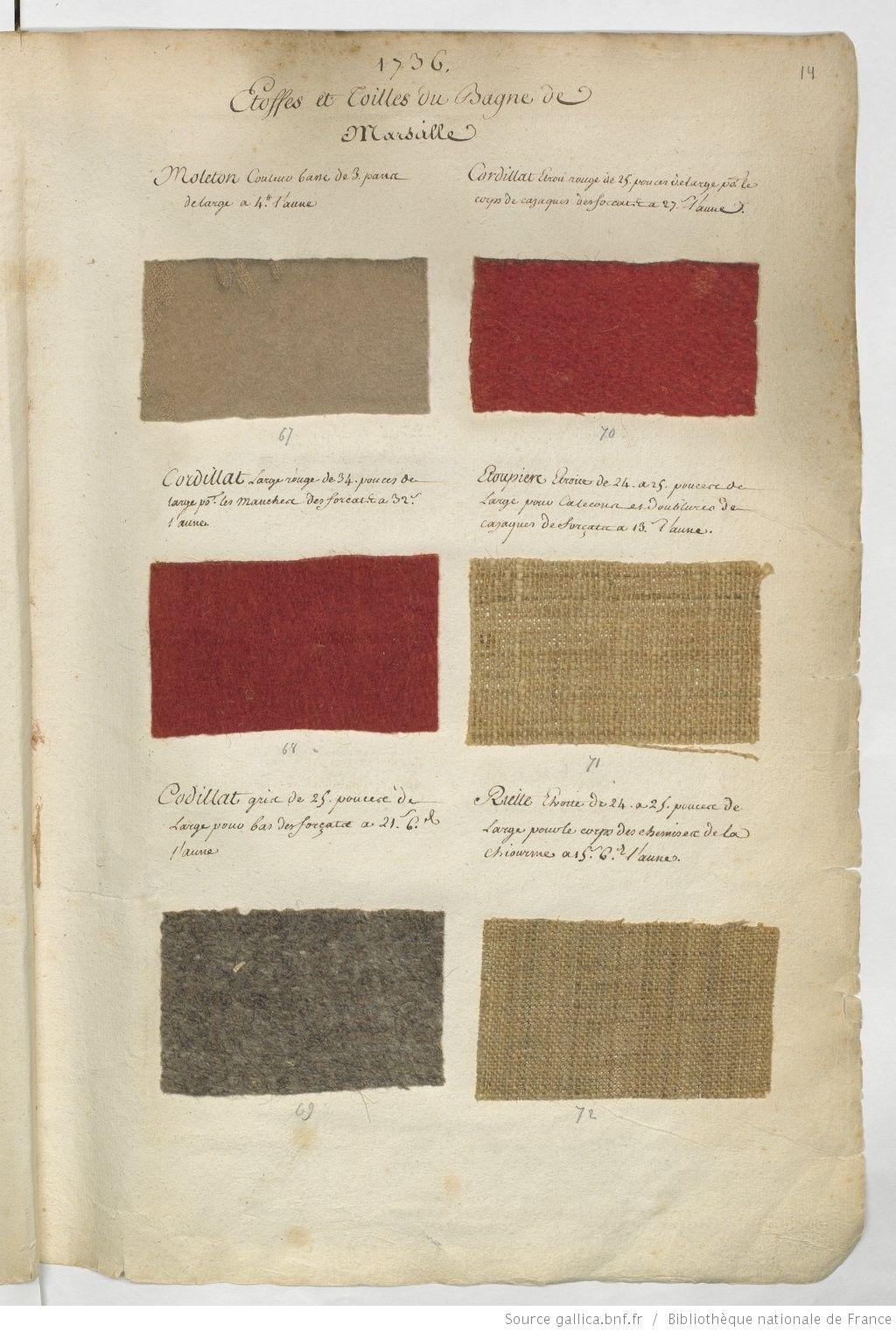 1736 etoffes et grosses toilles de la manufacture du bagne de marseille chantillons de. Black Bedroom Furniture Sets. Home Design Ideas
