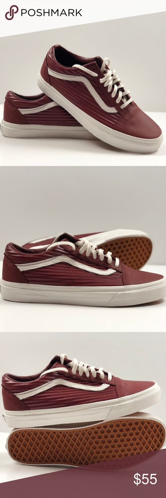 0cd77d019052 Vans Old Skool Moto Leather Madder Brown Blanc De Blanc Skate Shoes.  Condition  New with box. Size  Women s 9.5
