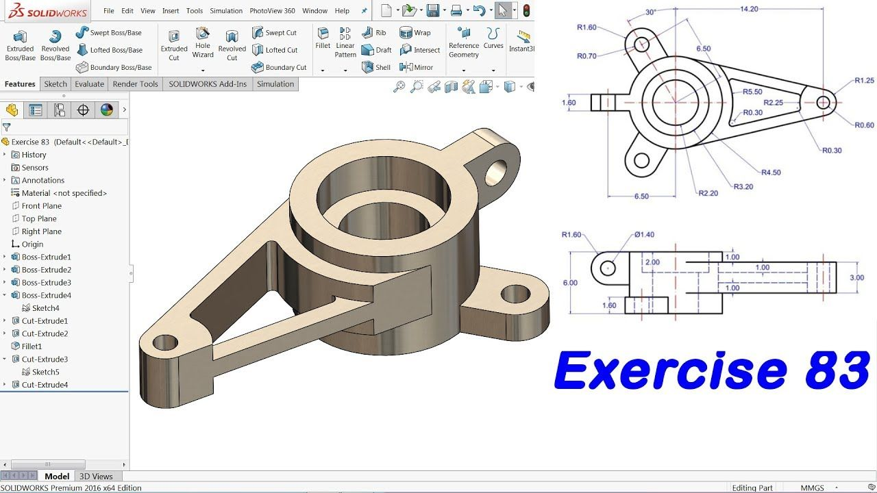 Solidworks Advanced Tutorial Exercise 83 Youtube Solidworks Autocad Isometric Drawing Technical Drawing