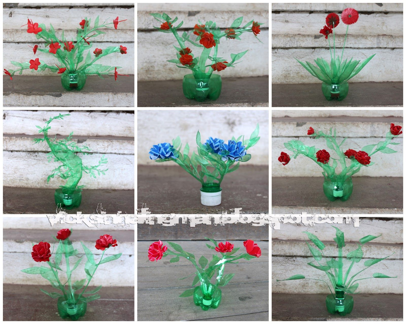 Recycled plastic bottle flowers making art out of junk for Art made from plastic bottles