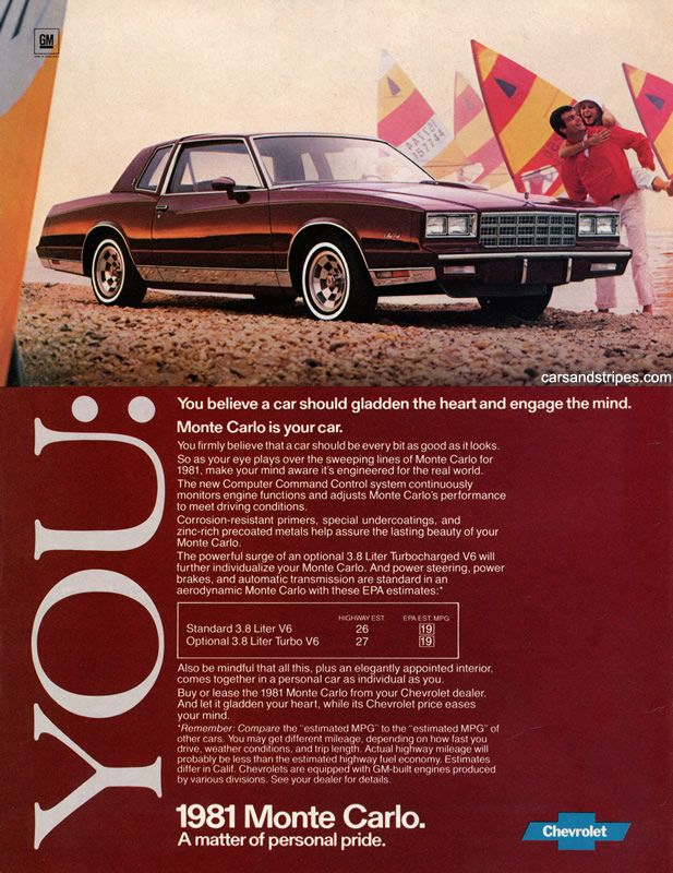 1981 Chevrolet Monte Carlo You Believe A Car Should Gladden The