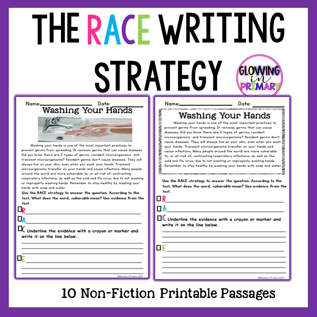 Writing With The Race Strategy Passages Races Writing Strategy Interactive Writing Writing Strategies [ 1008 x 1008 Pixel ]