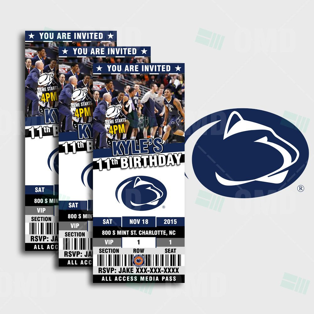 2 5x6 Penn State Nittany Lion Sports Party Invitation Sports