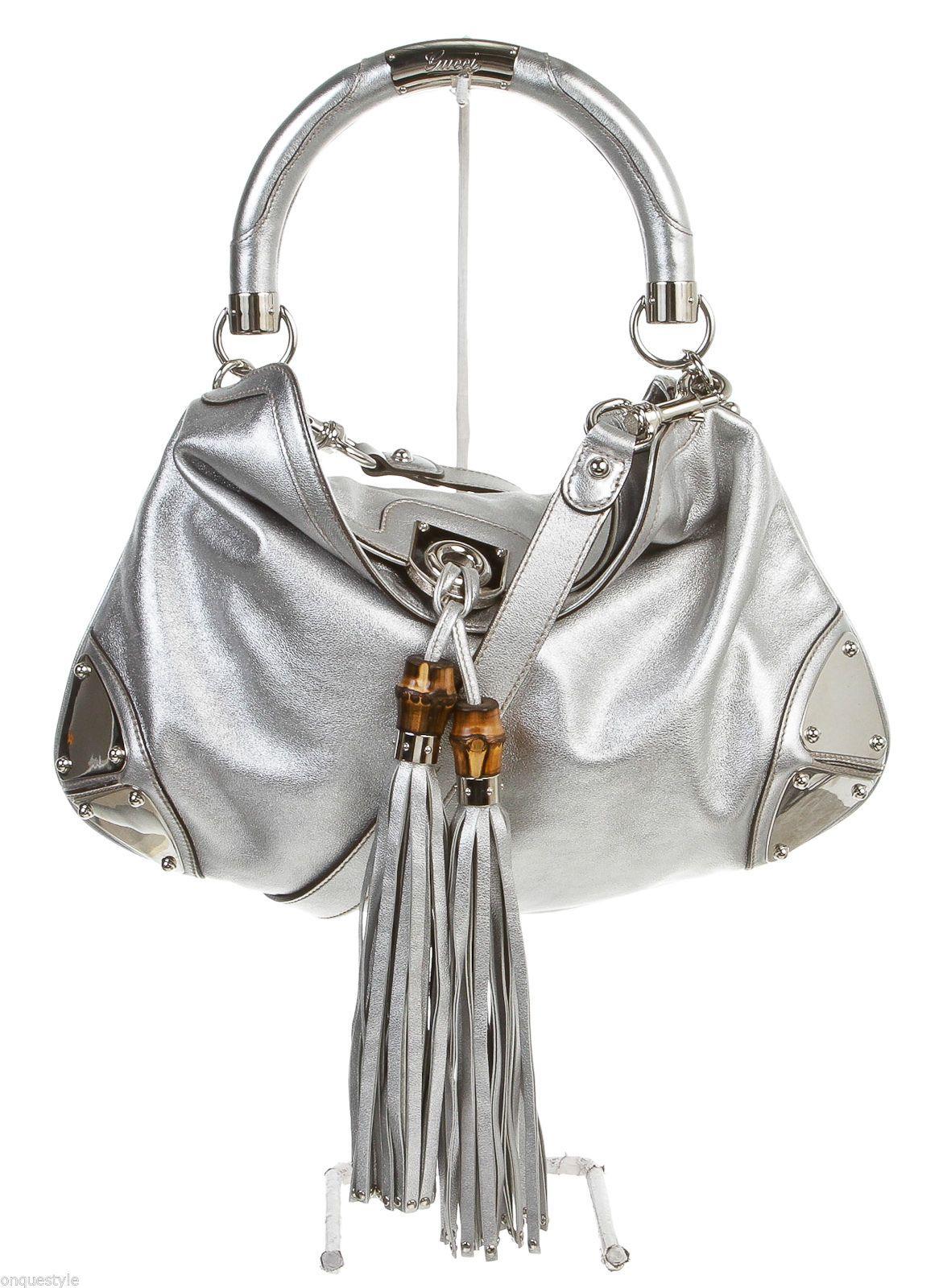 cdc04c8d766625 Gucci Silver Leather Babouska Indy Hobo Handbag | g u c c i | Hobo ...