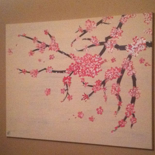 Pin By Amanda Kuhn On Artwork Cherry Blossom Drawing Cherry Blossom Tree Canvas Painting Projects