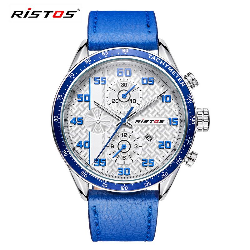 5b7967573f24 RISTOS Hot Sale Sport Men Watch Mens Auto day Genuine Leather Quartz  Watches Male Fashion Military Waterproof Wristwatch Relojes